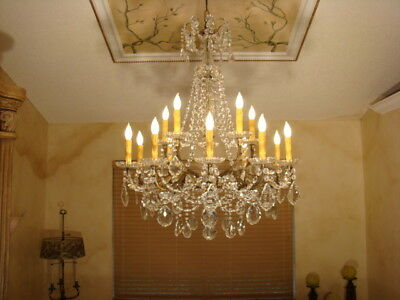 Amazing Old Bordeaux French Bead Brass And Crystal Empire Chandelier 15 L