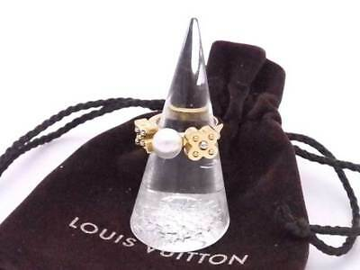 Auth LOUIS VUITTON Charmy Pearl Ring White/Goldtone Faux Pearl/Metal - e35577