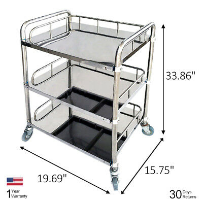 Medical Spa Surgical Shelves 3 Layers Trolley Dental Surgical Lab Tray Cart BCL