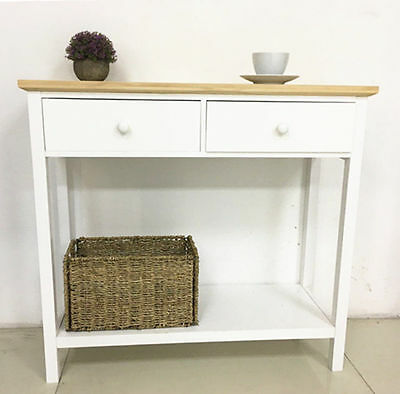 Vintage Console Table 2 Drawer Wood Hallway Storage Hall Kitchen White Furniture