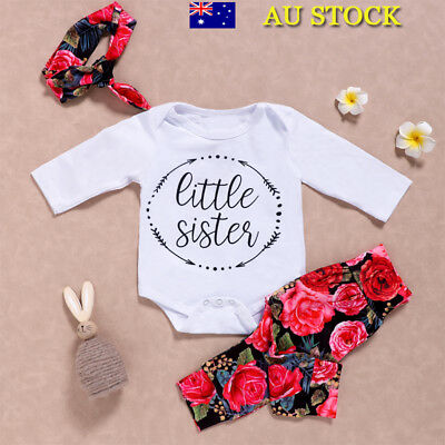 3Pcs Baby Girls T Shirt Tops Floral Pants Headband Toddler Outfits Clothes Set