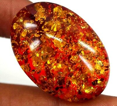 28.75 Ct NATURAL BALTIC EGG YOLK CHINESE OVAL CUT AMBER FOR NECKLACE USE