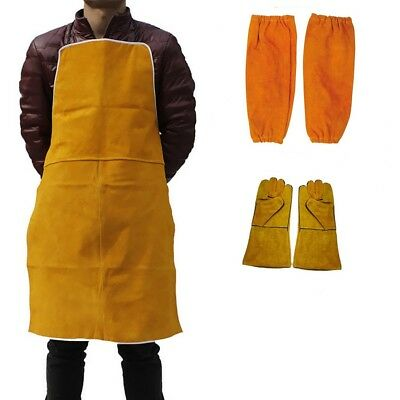 Welder Welding Leather Gloves Gauntlets Long Apron Blacksmith Clothes Protection