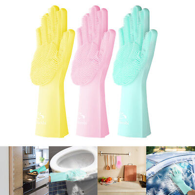 Easy Cleaing Sponge Magic Silicone Rubber Dish Washing Gloves Scrubber US