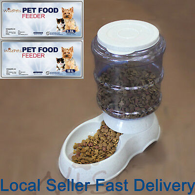 Large Automatic Pet Dog Cat Food Feeder Bowl Bottle Dispenser Plastic 4 Liters