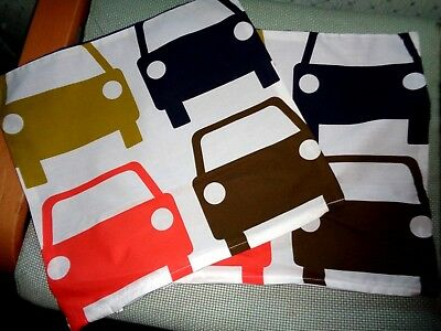 Orla Kiely fabric Ziped Cushion Covers Large Cars blue reverse