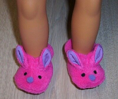 """OUR GENERATION BUNNY SLIPPERS 18"""" 45cm DOLLS Shoes Foot 6.5cm 2.5"""" Boots clothes"""