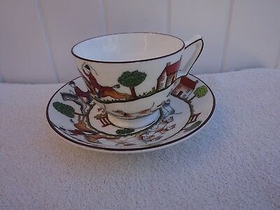 Vintage Crown Staffordshire Hunting Scene Cup & saucer