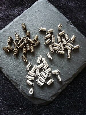50 Coil Crimp End Fasteners Spring Crimps 9x4mm for 2.5mm Cord Silver Bronze UK