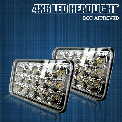 4x6 SQUARE LED PROJECTOR HEADLIGHT For Kenworth T600 T800 Classic 120/132 Pair