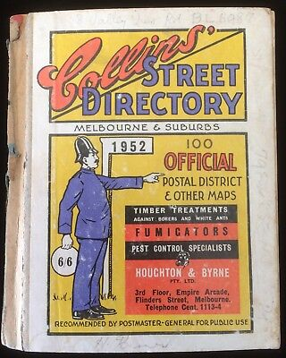 Vintage Collins Street Directory Melbourne & Suburbs 1952 Fold Out Map