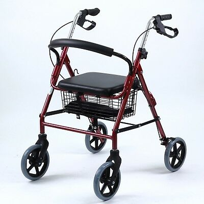 SKIIDDII Foldable Aluminium Rollator Walking Frame Mobility Walker Aids