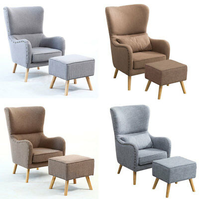 Linen Fabric Upholstered Wing Back Armchair Chair and Footstool Lounge Fireside