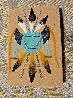 """Navajo Native American Indian Sand Art Painting Signed By Artist, 3"""" x 2"""""""