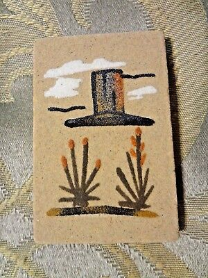 """Navajo Native American Indian Sand Art Painting Signed By Artist, Yazzie 3"""" x 2"""""""