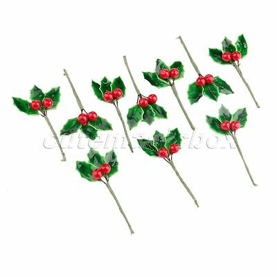 10X Mini DIY Berries Branch Christmas Decoration Artificial Fruit Flower Leaves