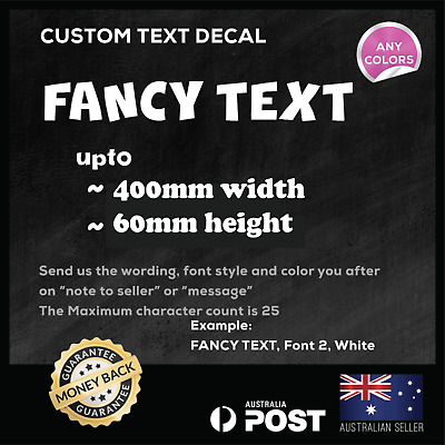 Custom Text Personalised Name Lettering Car Window Vinyl Decal Sticker 400mm