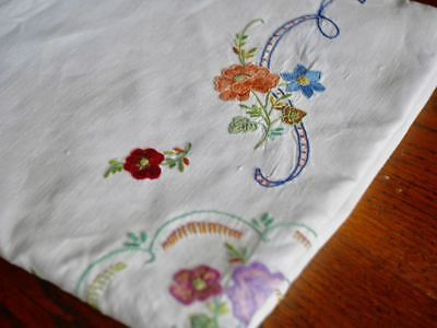 """Vintage Hand-Embroidered White Linen LARGE TABLECLOTH 88"""" x 49"""""""