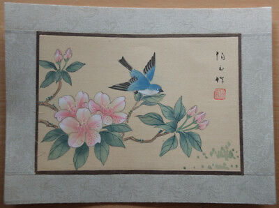 Vintage Hand Painted Flowers & Bird - Chinese Signed Picture On Silk