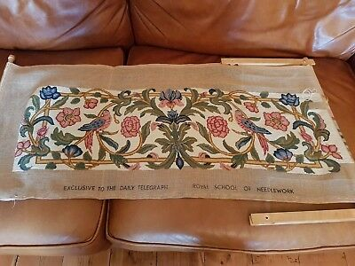 Royal School Of Needlework Virtually Completed Tapestry Birds Floral Botanic...