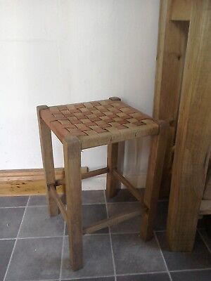 VINTAGE Wooden Stool with Woven Top Seat kitchen/bathroom/living room/bedroom