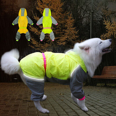 Reflective Dog Raincoat Lightweight Hooded Clothes for Small Medium Large Dogs
