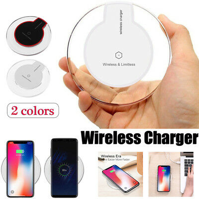 Qi Wireless Charger Slim Pad Ultrathin Fast Charge For iPhone X 8 S9 Plus Note