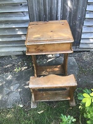Vintage Wooden Childrens Desk With Integral Seat