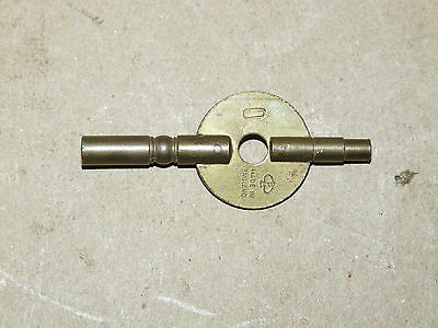 "Vintage Brass Double Barrel Clock Key ""P in Spade"" Popular Progress England INV"