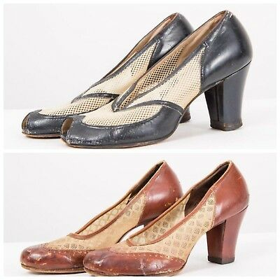 Vintage lot of 2 pairs womens 1940s mesh shoes worn AS IS theater reenactment
