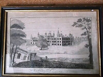 V.rare Antique Georgian Sampler Burghley House By Eliza Syson Using Her Own Hair