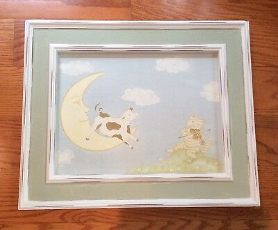 Wendy Bellissimo Picture Cow Jumped Over Moon Wood Frame Nursery