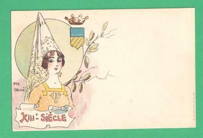 Early Vintage Jack Abeille Ladies Of The Past Art Postcard 13Th Century Lady