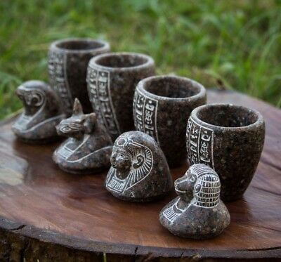 Vintage Granite Canopic Jars| Ancient Egyptian Canopic Jars| Royal Jars