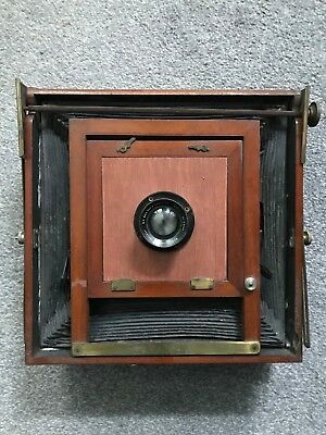 Wooden plate camera with Ross London 5in F4 wide angle lens and plate holder