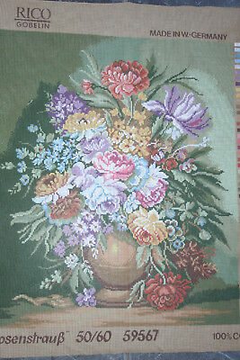 """Beautiful Large Floral Vintage Gobelin Tapestry Needlepoint Canvas 23.5""""x19.5""""."""