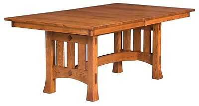 Amish Mission Trestle Craftsman Dining Table Chairs Set Wood Rustic Farmhouse