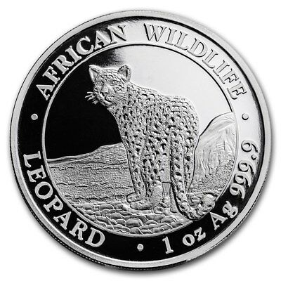 2018 Somalia African Wildlife Series Leopard  1 oz Silver .9999 Capsuled Coin