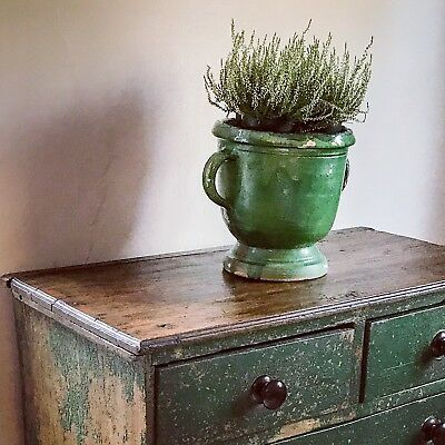 19th Century Painted Oak Antique Chest Of Drawers Original Chippy Paint Patina