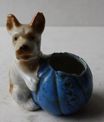 Puppy Dog Figure Ceramic-Porcelain Hand Painted Made in Japan Toothpick Holder