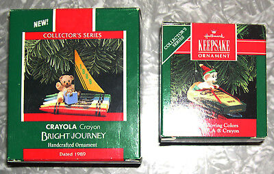 Hallmark Crayola Series Ornaments 1989 #1 Bright Journey & 1990 #2 Bright Moving