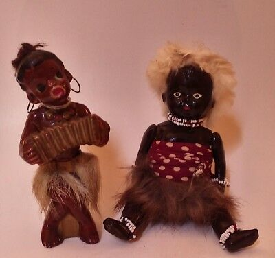 Two Vntg Black Americana Ethnic Tribal Collectables, Celluloid Doll & Hula Girl
