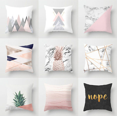 Polyester pillow case cover Pink minimalist throw sofa car cushion cover Decor