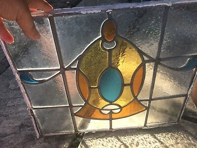 6 Antique Stained Glass Window Panels