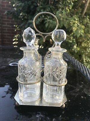 Vintage Cruet Set. Silver Plate And Crystal. 4 Piece Set With Holder.