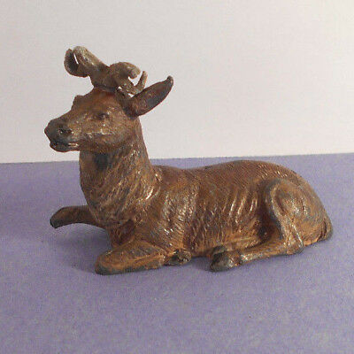 Antique vtg Painted Metal Deer Buck horns Christmas decoration figurine-Germany
