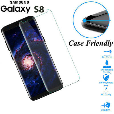 Case Friendly Tempered Glass Screen Protector Cover For Samsung Galaxy S8 Clear