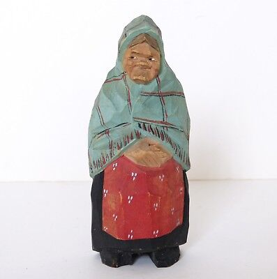 Vintage GUNNARSON c1950s Hand Carved WOODEN Folk Art LADY Figure SWEDEN Signed