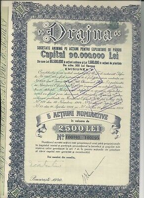 Romania. Drajna Wood Industry. 5 X 500 (2500) Lei  Bond, 1940. With Coupons.