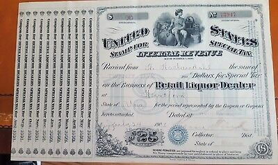 Vintage 1901 Retail Liquor License Hartford Wi. With Coupons Attached Rare